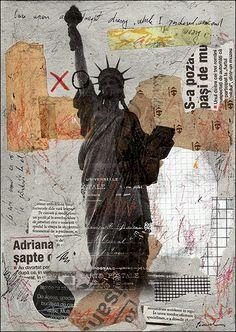 SALE  Fine Art  PRINT- Abstract Mixed media collage By Mirel Liberty M. E.Ologeanu. $6.91, via Etsy.
