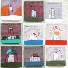 """io sono casa"" Home, music, art, Illustration,books,love,handmade,Green, trees, party. Illustration by Giada Floris"
