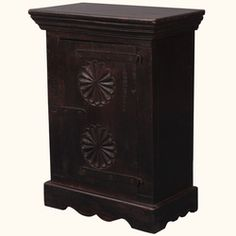 Double Flower Indian Rosewood Nightstand End Table Cabinet