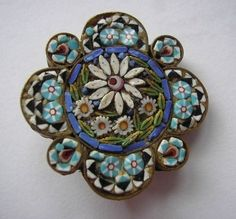 "Micro Mosaic Blue Daisy Brooch - Front; unusual flower shape, 1"" dia; sold on EBay 05/2012 approx $25USD"