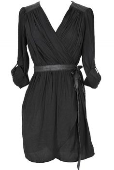 Leatherette Detail Wrap Dress in Black  www.lilyboutique.com