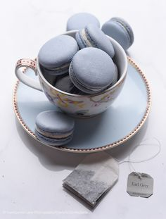 Tea time is all the time! Macarons and tea are our favourite things! Gold Color Scheme, Color Schemes, Macaron Bleu, French Macaron, Fleur Delacour, French Blue, Blue Aesthetic, Pantone Color, High Tea