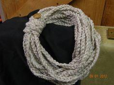 Cream Colored Infinity Scarf Crochet Chain Infinity by luluBdesign