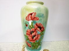 Hand Crafted Large Red Poppy Vase Hand by PorcelainChinaArt