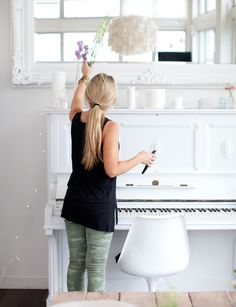 "Outtakes from our book, ""Decorate With Flowers"" white piano. Painted Pianos, White Piano, Beautiful Interiors, Cottage Style, New Moms, Vibrant Colors, Spring, Flowers, Inspiration"