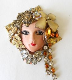 Unique Face Brooch/Pin Made with Vintage Jewelry Repurposed Pieces