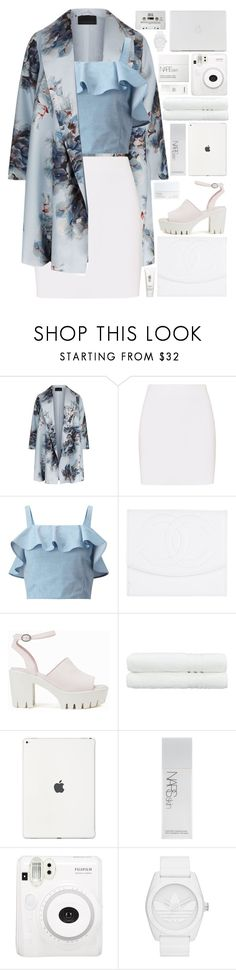 """floral paradise💙 (top set)"" by charli-oakeby ❤ liked on Polyvore featuring Marina Rinaldi, Helmut Lang, Miss Selfridge, Chanel, Nly Shoes, NARS Cosmetics, Linum Home Textiles, H2O+, Fuji and adidas Originals"