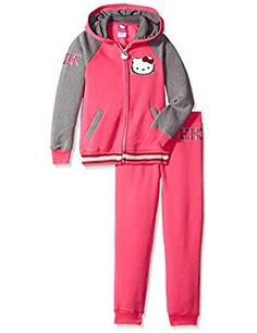 Hello Kitty Little Girls' Varsity Active Set with Lurex Rib and Print, Pink, 4 Cute Fashionable Comfortable Trendy Sweet Outfit Sets, Latest Fashion Trends, Hooded Jacket, Little Girls, Clothing Sets, Hello Kitty, Girl Fashion, Hoodies, Cute