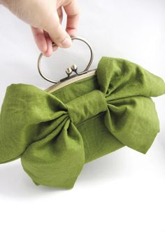 large bow clutch with handle - green tea linen