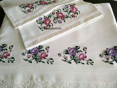 573 Likes, 9 Comments - Gonca Cross Stitch Rose, Cross Stitch Flowers, Cross Stitch Embroidery, Hand Embroidery, Embroidery Designs, Stitch Crochet, Filet Crochet, Bohemian Bedroom Decor, Embroidered Pillowcases