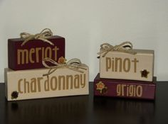 Items similar to Stackable Wine Themed Wooden Block Decor Merlot Chardonnay and Pinot Grigio on Etsy Wine Theme Kitchen, Kitchen Dinning, Kitchen Themes, Kitchen Decor, Kitchen Ideas, Dining Room, Wine Themed Decor, Wine Decor, Wine Cork Projects
