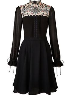 KAREN MILLEN Lace Yoke Dress - BlackSize & FitTrue to size - order your usual sizeFit and flare designModel is 5'10