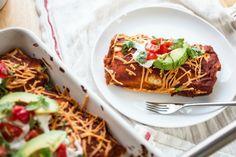Black Bean, Corn and Red Rice Enchiladas #Vegan