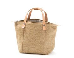 Mini Handbag Gengibre, Camel, Beige mesclado, Canvas bag,  Zipper top closure, Leather handles