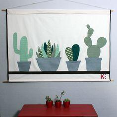 Kakemono cactus fait sur un draps ancien avec des tissus japonais appliqués #déco #design #homedecor #madeinfrance #handmade