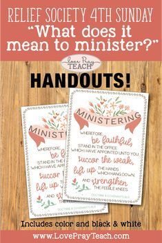"""LDS Relief Society 4th Sunday """"What does it mean to minister to others?"""" Lesson helps for """"Ministering to Others"""" Fourth Sunday Meeting including printables, handouts, posters, PowerPoint, Ministering banner, notes page, and more! www.LovePrayTeach.com"""