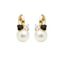 Cercei placati cu aur de 18 K, 2 microni, cu o perla de 10 mm si doua pietre zirconia negru si alb Aur, Pearl Earrings, Pearls, Jewelry, Ear Piercings, Pearl Drop Earrings, Pearl Studs, Bijoux, Jewlery