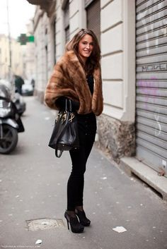 A mink cape for paris. ~~~My cape is this same style- a bit lighter, I got it at a thrift shop. It is so warm in this icy weather. SVM
