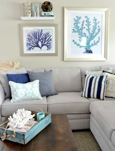Gray Walls with Beach Decor  Love these warm grays - perfect backdrop for a beachy decor