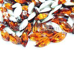 Kristall Cabochons, Pferdeauge, silberfarben plattiert, Orange, 17x32mm