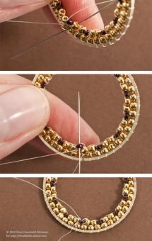 Brick Stitch Inside Metal Rings for Hoop Earrings: Complete the Second Round of Beads