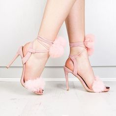 Public Desire  Pink Pom Pom Sandals