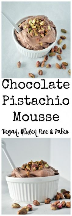 All you need is 4 simple ingredients to make this chocolate pistachio mousse. Vegan, gluten free and paleo approved. Whip it up in minutes. | mywholefoodlife #Mousse #Chocolate #Pistachio #Easy