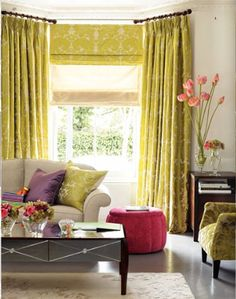 Bright yellow and white roman shades and drapery match the accent pillow on the couch and the chair in this colorful living room. Interior design ideas ~ home decor ~ window treatments ~ Dream homes Bay Window Treatments, Window Coverings, Ikea Curtain Rods, Floor To Ceiling Curtains, Window Curtains, Valance, Cozy Room, Traditional Decor, Of Wallpaper