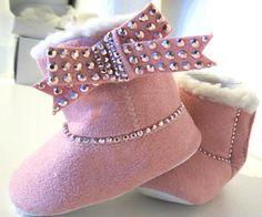 Baby Girl Newborn Infant Pink Rhinestone Crystal Bow Bling Crib Booties Shoes. $18.99, via Etsy.
