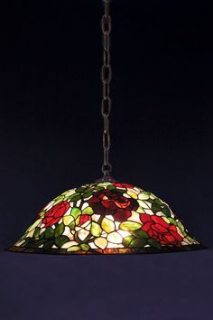 Tiffany rosebush lamp stained glass. Pendant lamp by WPworkshop