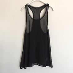 Black sheer flowy tank small Flowy tank and sheer. Worn once like new.  Perfect for warmer weather. Bundle to save 25%! Naked Zebra Tops Tank Tops
