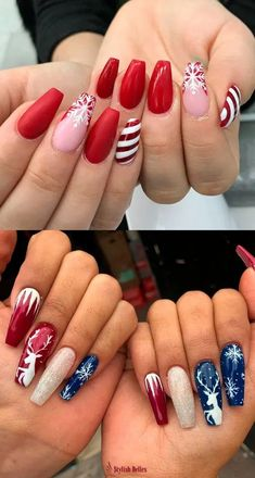 The Cutest and Festive Christmas Nail Designs for Celebration - Beautiful Red, Blue & Glitter Christmas Nails! Chistmas Nails, Xmas Nail Art, Cute Christmas Nails, Xmas Nails, Christmas Nail Art Designs, Holiday Nails, Red Nails, Christmas Acrylic Nails, Winter Christmas