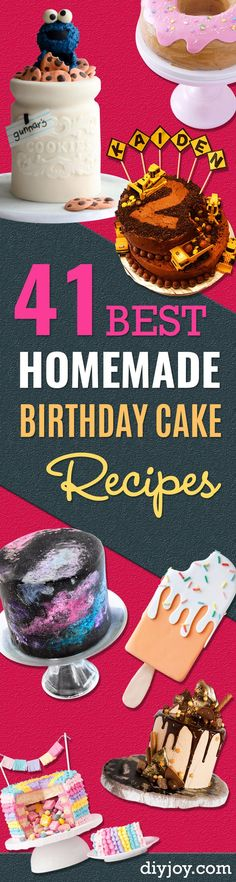 41 Best Homemade Birthday Cake Recipes - Birthday Cake Recipes From Scratch, Delicious Birthday Cake Recipes To Make, Quick And Easy Birthday Cake Recipes, Awesome Birthday Cake Ideas via @diyjoycrafts Easy Birthday Cake Recipes, Birthday Cakes For Teens, Homemade Birthday Cakes, Homemade Cake Recipes, Cool Birthday Cakes, Birthday Bash, Happy Birthday, Cupcakes, Cupcake Cakes