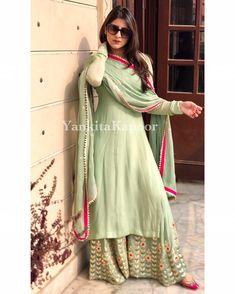 Siya Fashion Party Wear Light Green Palazzo Kurti With Embroidered Work Dress Indian Style, Indian Fashion Dresses, Indian Outfits, Indian Wear, Pakistani Dresses, Casual Indian Fashion, Mehendi Outfits, Shadi Dresses, Ethnic Outfits