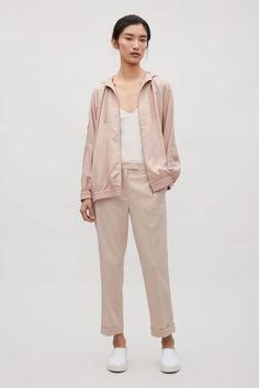 COS image 1 of Hooded zip-up jacket in Light Beige