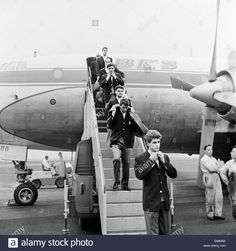 1966 World Cup Tournament in England. Members of the Italy football team descend the steps of the plane after their arrival at Newcastle airport before the tournament. 7th July 1966. Stock Photo○