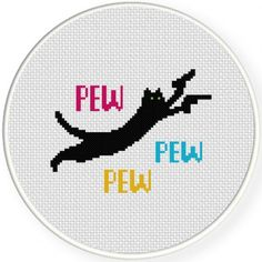 Pew Pew Cat Cross Stitch Illustration