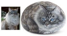 Jedi - acrylic on rock - cm. 20 | Pet Rock Portraits by Roberto Rizzo | www.robertorizzo.com | #cats #portraits #cats #rockpainting #paintedrocks #fineart #art #animals #catportraits