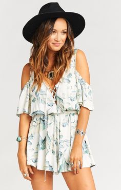 Cameron Cold Shoulder Romper ~ Don't Leaf Me Breeze | Show Me Your Mumu