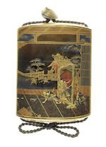 A gold-lacquer four-case inro  By Omura Gyokuzan, 19th century