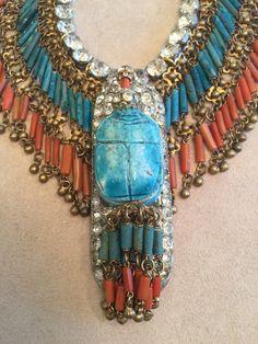 Turquoise and Coral Cylinders, Gilded Fringe, Mid-Century Rhinestone, Antique Rhinestone Lozenge, Antique Scarab. Coral, Turquoise, 1920s, Jewelry Design, Antiques, Fashion, Antiquities, Moda, Antique