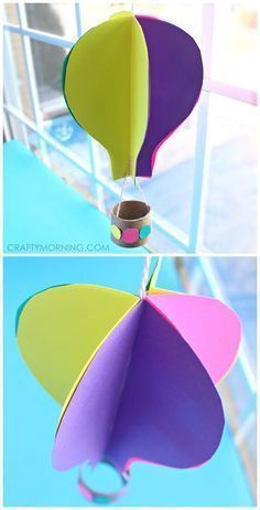 3D Spinning hot air balloon craft for kids using paper and a toilet paper roll! This art project is great for Spring or Summer time | CraftyMorning.com #ArtAndCraftAirBalloon