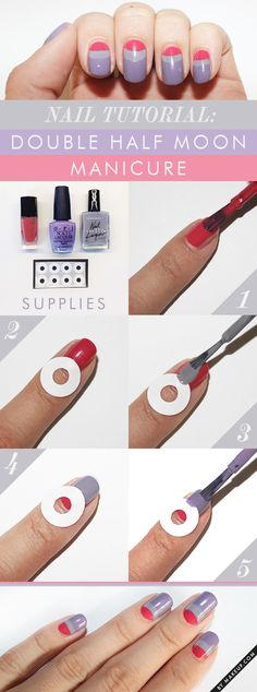 Double Half Moon Manicure how to step by step guide...