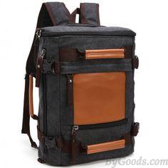 Sac d'école de loisirs grande capacité Sac à dos en toile à épissure cylindrique Travel Backpack Carry On, Lace Backpack, Mens Travel Bag, Backpack For Teens, Canvas Backpack, Laptop Backpack, Travel Bags, Leather Backpack, Fashion Backpack