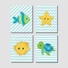 Boy Baby Sea Animals Fish Starfish Blowfish by LovelyFaceDesigns, $37.00