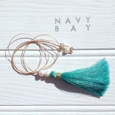 Navy Bay Long Tassel Necklace