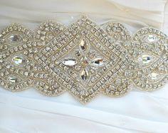 Silver Crystal Rhinestone Bridal SashWedding by lostintimeinc