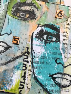 Addicted to Art: Collage, Faces, Eyes and a bit of fun 28 December, On October 3rd, July 6th, Umbrella Man, Bird Silhouette, Distressed Painting, Journalling, Mini Books, Crazy Cats