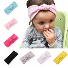 QM Baby's Cotton Turban Headbands Knotted Hair Band(7 Pack)