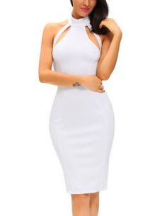 Get fashion the look with this high neck midi dress in crisp white. With its elegant high neck, simple chic cutout detail and curve-hugging silhouette, this lustworthy piece is top of our wish list. Wear with strappy heels and oversized clutch for a elegant finish.